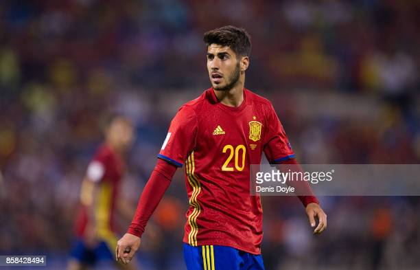 Marco Asensio of Spain looks on during the FIFA 2018 World Cup Qualifier between Spain and Albania at Estadio Jose Rico Perez on October 6 2017 in...