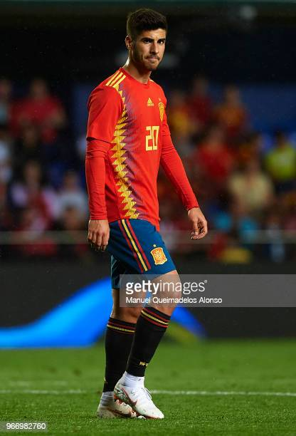 Marco Asensio of Spain looks on during the International Friendly match between Spain and Switzerland at Estadio de La Ceramica on June 3 2018 in...