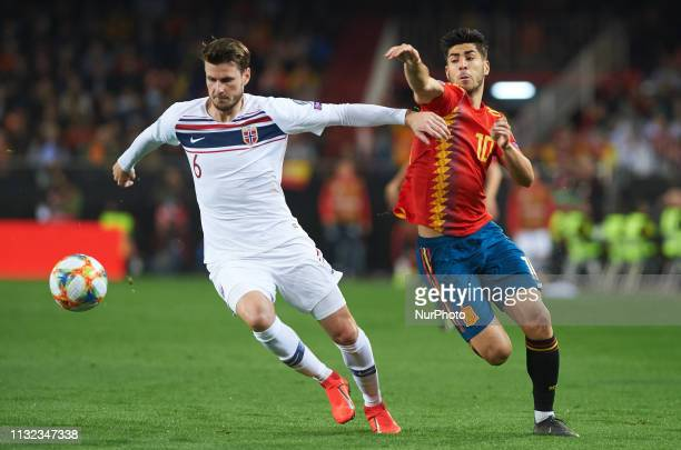 Marco Asensio of Spain national team and Havard Nordtveit of Norway national team during the European Qualifying round Group F match between Spain...