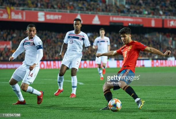 Marco Asensio of Spain national team and Omar Elabdellaoui of Norway national team during the European Qualifying round Group F match between Spain...