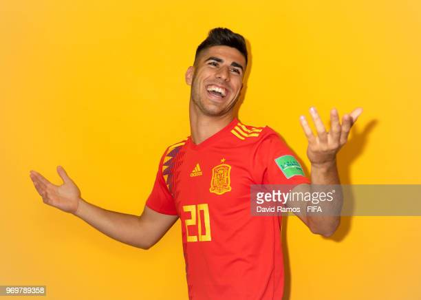 Marco Asensio of Spain poses during the official FIFA World Cup 2018 portrait session at FC Krasnodar Academy on June 8 2018 in Krasnodar Russia