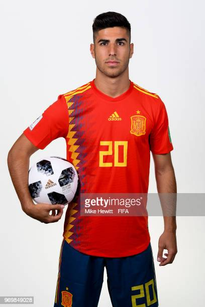 Marco Asensio of Spain poses for a portrait during the official FIFA World Cup 2018 portrait session at FC Krasnodar Academy on June 8 2018 in...