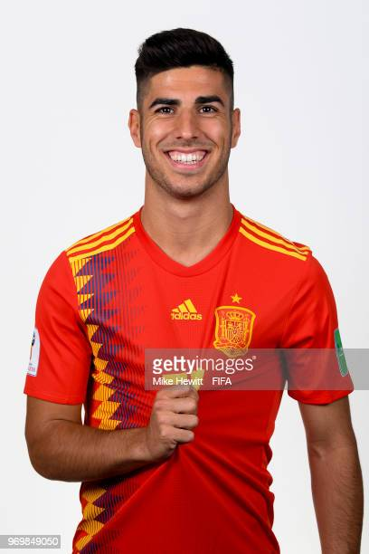 c59a78aa1 Marco Asensio of Spain poses for a portrait during the official FIFA World  Cup 2018 portrait
