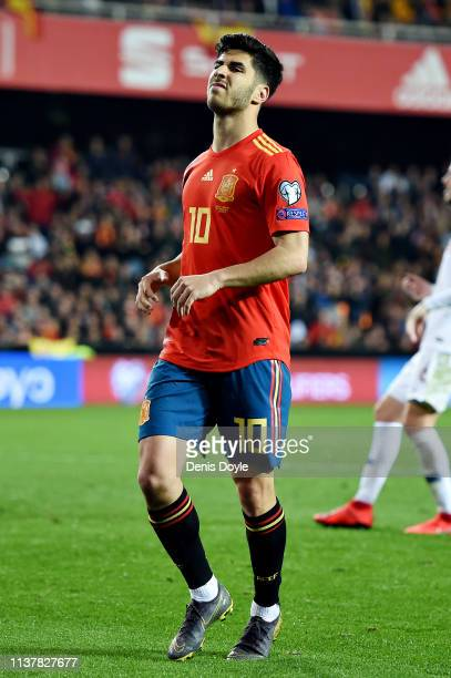 Marco Asensio of Spain reacts after attempting a chip during the 2020 UEFA European Championships group F qualifying match between Spain and Norway...
