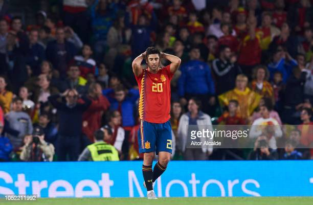 Marco Asensio of Spain reacts during the UEFA Nations League A Group Four match between Spain and England at Estadio Benito Villamarin on October 15...