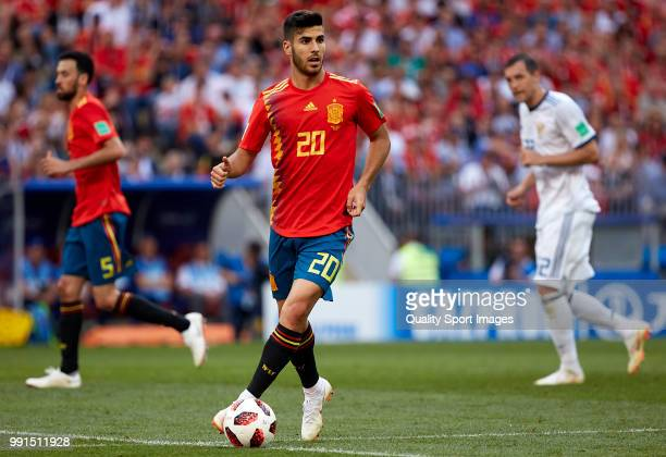 Marco Asensio of Spain runs with the ball during the 2018 FIFA World Cup Russia Round of 16 match between Spain and Russia at Luzhniki Stadium on...