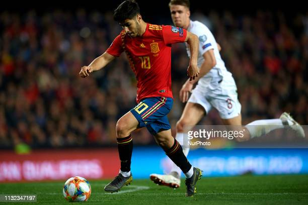 Marco Asensio of Spain shooting to goal during the 2020 UEFA European Championships group F qualifying match between Spain and Norway at Estadi de...