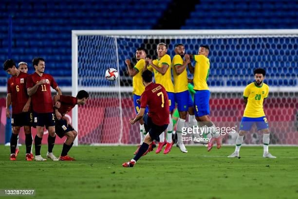 Marco Asensio of Spain shoots a free kick during the Tokyo 2020 Olympic Mens Football Tournament Gold Medal Match between Brazil and Spain at...