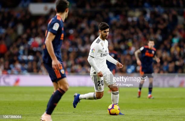 Marco Asensio seen in action during the La Liga match between Real Madrid and Valencia CF at the Estadio Santiago Bernabéu in Madrid. .