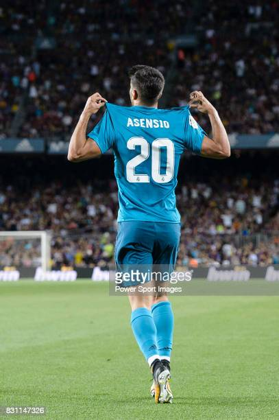 Marco Asensio Willemsen of Real Madrid celebrating his score during the Supercopa de Espana Final 1st Leg match between FC Barcelona and Real Madrid...