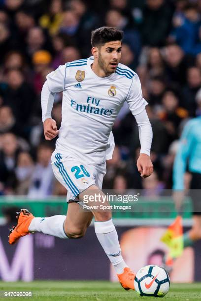 Marco Asensio Willemsen of Real Madrid in action during the La Liga 201718 match between Real Madrid and Girona FC at Estadio Santiago Bernabéu on...