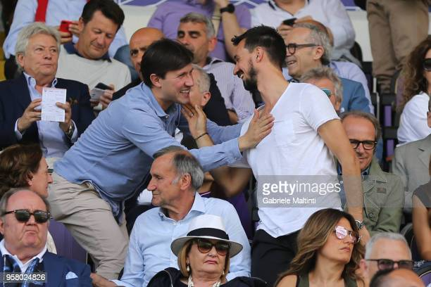 Marco Astori brother of Davide Astori and Dario Nardella mayor of Florence during the serie A match between ACF Fiorentina and Cagliari Calcio at...