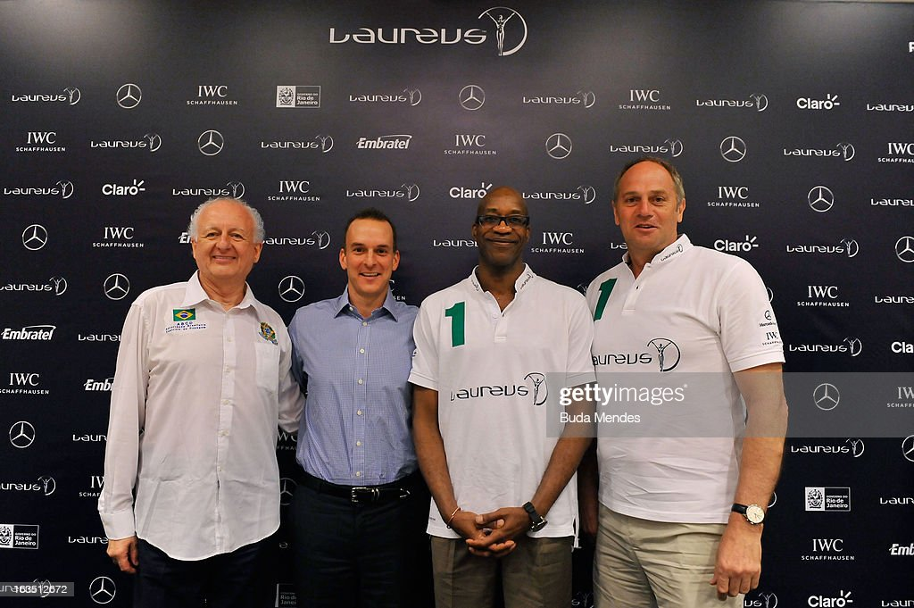 Marco Aurelio Klein with Travis Tygart, USADA Chief Brazil Anti-Doping with Laureus Academy Chairman Edwin Moses and Laureus Academy Member Sir Steve Redgrave attend the Laureus/AIPS Integrity In Sport Press Discusssion at the Windsor Atlantica during the 2013 Laureus World Sports Awards on March 11, 2013 in Rio de Janeiro, Brazil.