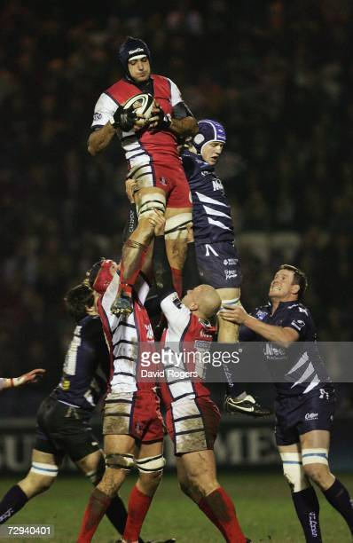 Marco Bartolami of Gloucester catches the ball in the linout during the Guinness Premiership match between Sale Sharks and Gloucester at Edgeley Park...