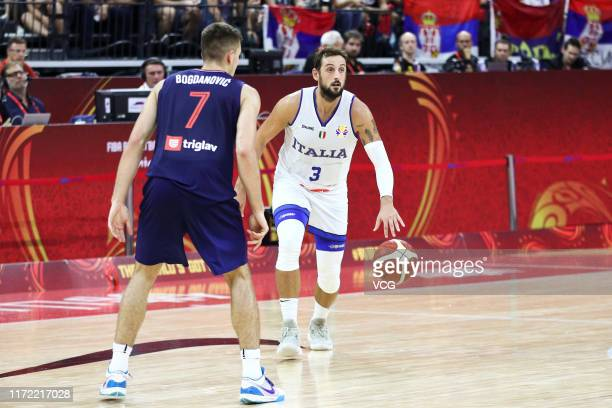 Marco Belinelli of Italy handles the ball during FIBA World Cup 2019 Group D match between Italy and Serbia at Foshan International Sports and...