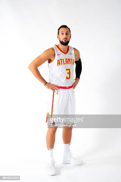 Marco Belinelli of the Atlanta Hawks poses for a portrait during the 201718 NBA Media Day on September 25 2017 at Philips Arena in Atlanta Georgia...