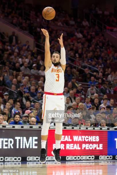 Marco Belinelli of the Atlanta Hawks shoots the ball against the Philadelphia 76ers at the Wells Fargo Center on November 1 2017 in Philadelphia...