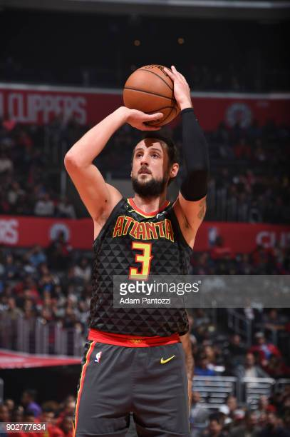 Marco Belinelli of the Atlanta Hawks shoots the ball against the LA Clippers on January 8 2018 at STAPLES Center in Los Angeles California NOTE TO...