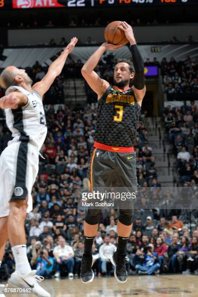 Marco Belinelli of the Atlanta Hawks shoots the ball against the San Antonio Spurs on November 20 2017 at the ATT Center in San Antonio Texas NOTE TO...