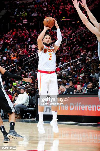 Marco Belinelli of the Atlanta Hawks shoots the ball during the game against the San Antonio Spurs on January 15 2018 at Philips Arena in Atlanta...