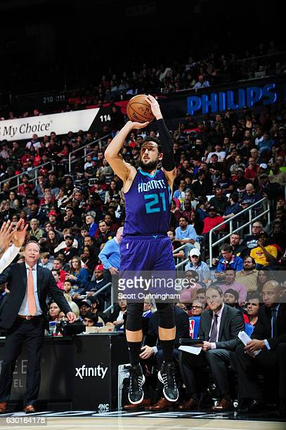 Marco Belinelli of the Charlotte Hornets shoots the ball against the Atlanta Hawks during the game on December 17 2016 at Philips Arena in Atlanta...