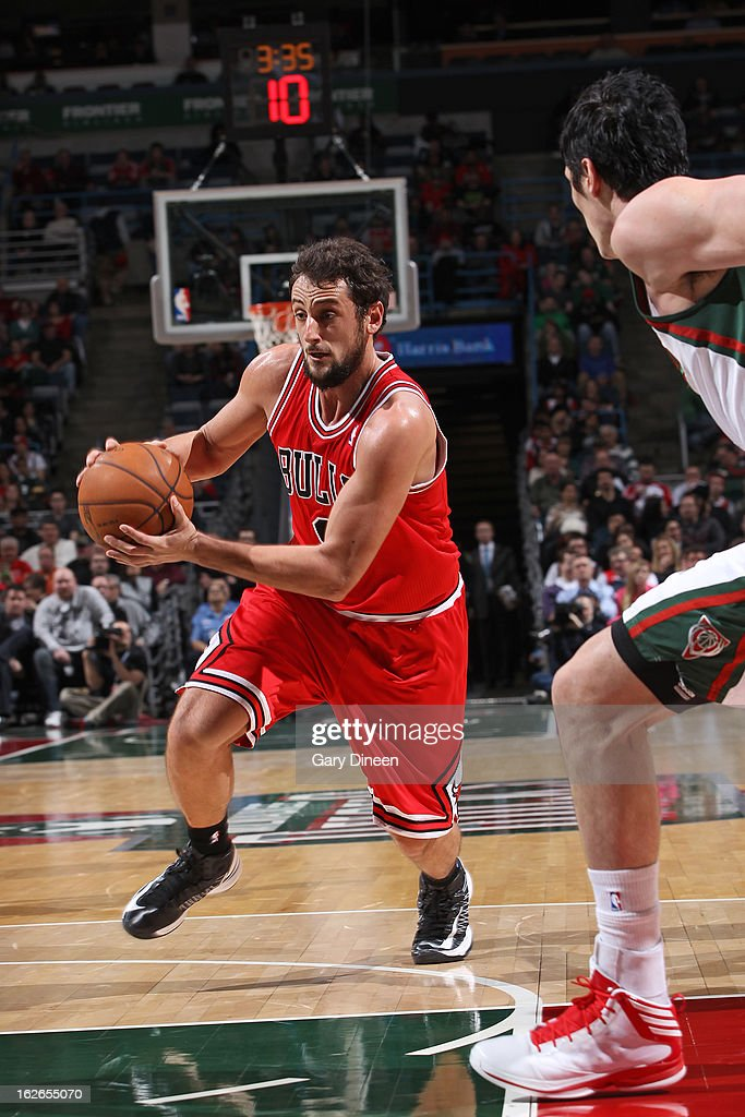 Marco Belinelli #8 of the Chicago Bulls drives to the basket against the Milwaukee Bucks on January 30, 2013 at the BMO Harris Bradley Center in Milwaukee, Wisconsin.