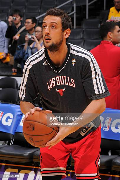 Marco Belinelli of the Chicago Bulls warms up before facing the Los Angeles Lakers at Staples Center on March 10 2013 in Los Angeles California NOTE...