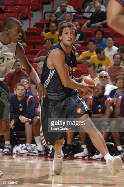 Marco Belinelli of the Golden State Warriors drives against the Seattle SuperSonics during the NBA Summer League on July 13, 2007 at the Thomas &...