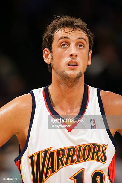 Marco Belinelli of the Golden State Warriors looks on during a preseason game against Lietuvos Rytas at Oracle rena in Oakland on October 15 2008 in...