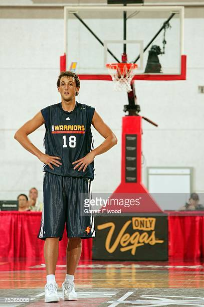 Marco Belinelli of the Golden State Warriors looks on during the game against the New Orleans Hornets during Game 1 of the NBA Summer League at the...