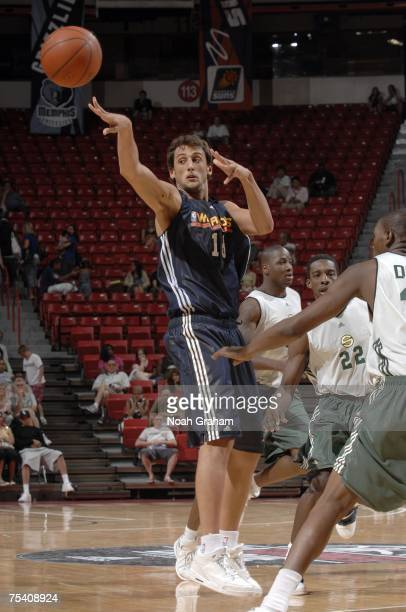 Marco Belinelli of the Golden State Warriors passes against the Seattle SuperSonics during the NBA Summer League on July 13, 2007 at the Thomas &...