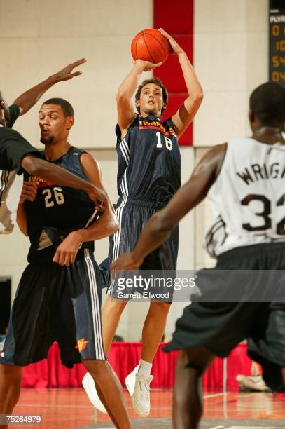Marco Belinelli of the Golden State Warriors puts up a shot against the New Orleans Hornets during Game 1 of the NBA Summer League at the Cox...