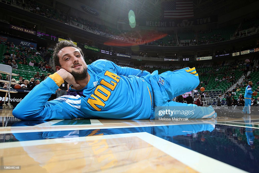 a24cc240c Marco Belinelli  8 of the New Orleans Hornets stretches before play against  the Utah Jazz