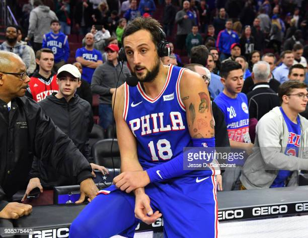Marco Belinelli of the Philadelphia 76ers is interviewed after the win against the Charlotte Hornets at Wells Fargo Center on March 19 2018 in...
