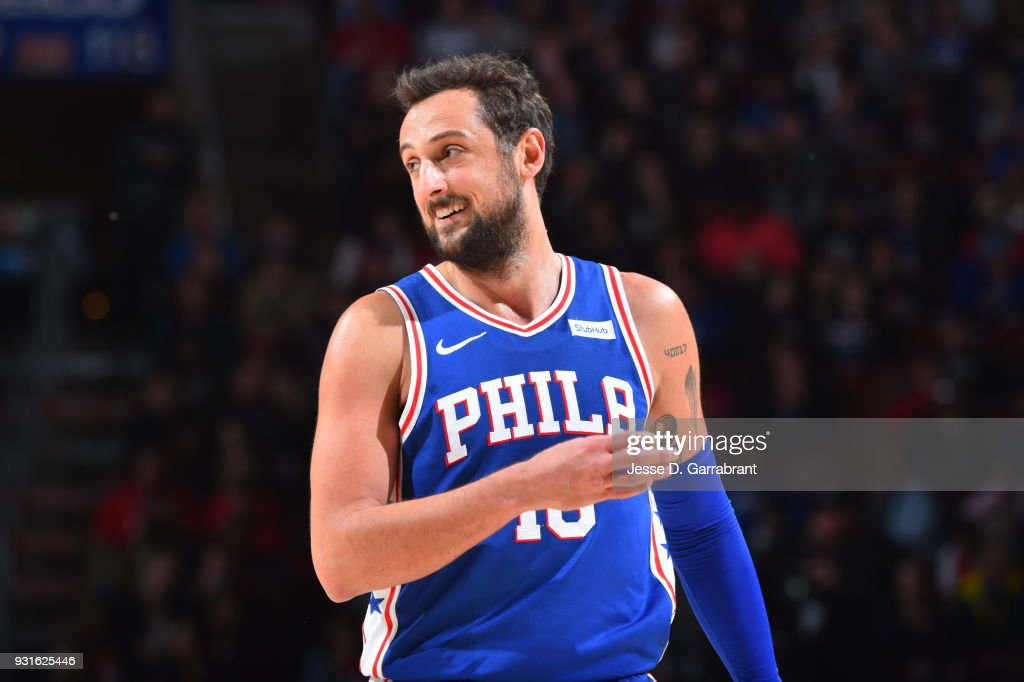 size 40 c0e54 5c855 Marco Belinelli of the Philadelphia 76ers looks on against ...