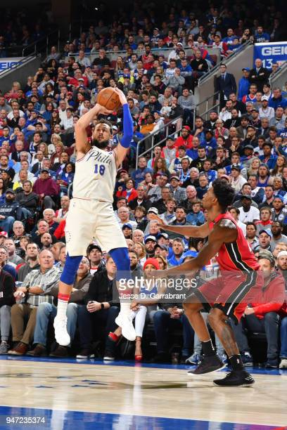 Marco Belinelli of the Philadelphia 76ers shoots the ball against Miami Heat in Game Two of Round One of the 2018 NBA Playoffs on April 16 2018 in...