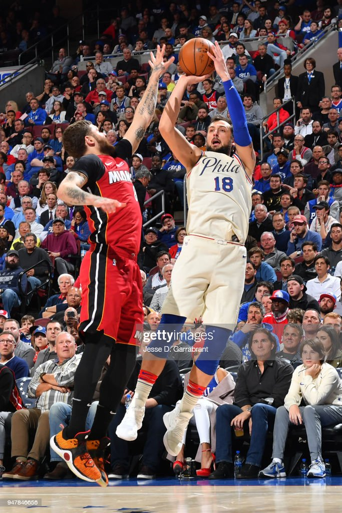 Marco Belinelli #18 of the Philadelphia 76ers shoots the ball against the Miami Heat in Game Two of Round One of the 2018 NBA Playoffs on April 16, 2018 in Philadelphia, Pennsylvania
