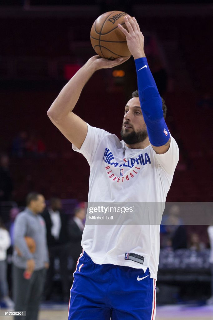 Marco Belinelli #18 of the Philadelphia 76ers warms up prior to the game against the New York Knicks at the Wells Fargo Center on February 12, 2018 in Philadelphia, Pennsylvania.