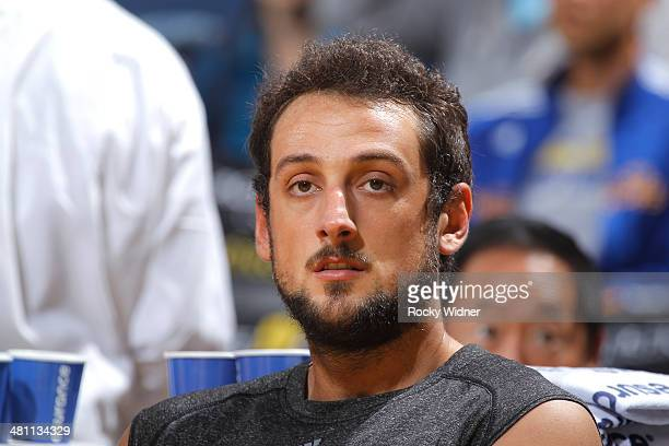 Marco Belinelli of the San Antonio Spurs in a game against the Golden State Warriors on March 22 2014 at Oracle Arena in Oakland California NOTE TO...