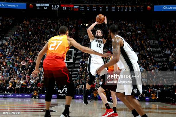 Marco Belinelli of the San Antonio Spurs shoots the ball against the Utah Jazz on February 9 2019 at Vivint Smart Home Arena in Salt Lake City Utah...