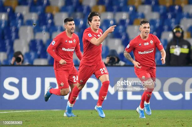 Marco Benassi Federico Chiesa and Pol Lirola of ACF Fiorentina celebrate the 01 goal scored by Federico Chiesa during the Serie A match between SSC...