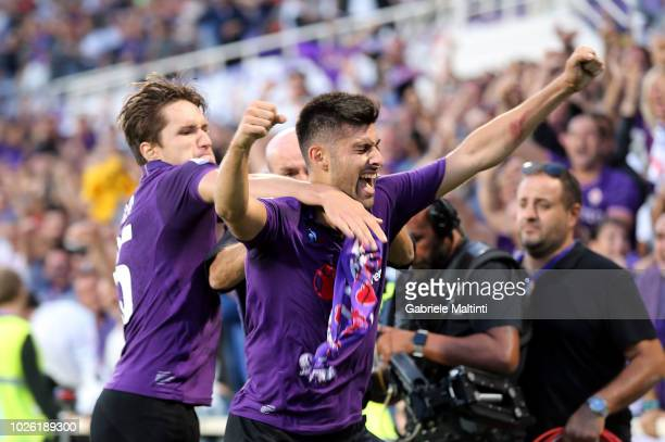 Marco Benassi of ACF Fiorentina celebrates after scoring a goal during the serie A match between ACF Fiorentina and Udinese at Stadio Artemio Franchi...