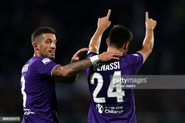 Marco Benassi of ACF Fiorentina celebrates after scoring a goal during the Serie A match between ACF Fiorentina and Torino FC at Stadio Artemio...