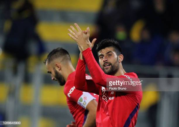 Marco Benassi of ACF Fiorentina celebrates after scoring the opening goal during the Serie A match between Frosinone Calcio and ACF Fiorentina at...