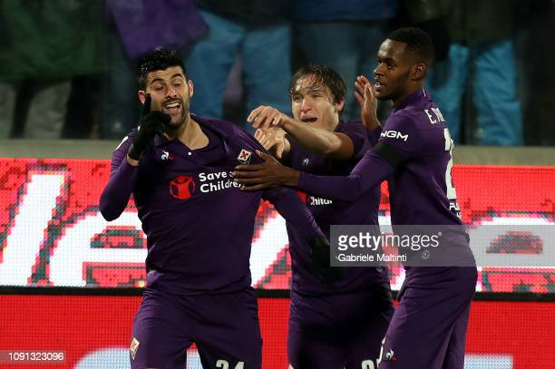 Marco Benassi of ACF Fiorentina celebrates with teammates after scoring a goal during the Coppa Italia match between ACF Fiorentina and AS Roma at...