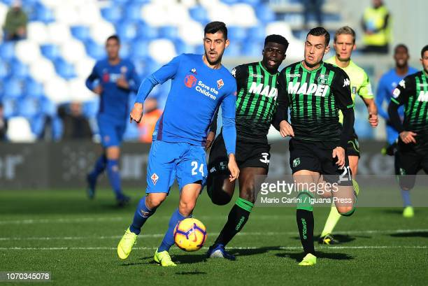 Marco Benassi of ACF Fiorentina in action during the Serie A match between US Sassuolo and ACF Fiorentina at Mapei Stadium Citta' del Tricolore on...