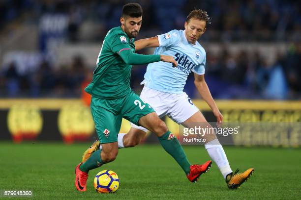 Marco Benassi of Fiorentina nd Lucas Leiva of Lazio during the Italian Serie A football match Lazio vs Fiorentina at the Olympic Stadium in Rome on...