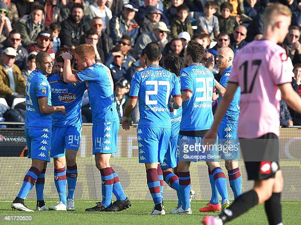 Marco Benassi of Torino celebrates after scoring the opening goal during the Serie A match between AC Cesena and Torino FC at Dino Manuzzi Stadium on...