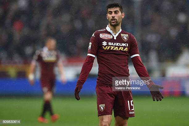 Marco Benassi of Torino FC reacts during the Serie A match between Torino FC and AC Chievo Verona at Stadio Olimpico di Torino on February 7 2016 in...