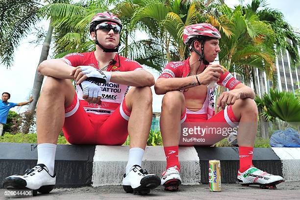 Marco Benfatto and Marco Bandiera of the Androni Giocattoli - Sidermec Team ahead of the fourth stage of the Tour de Langkawi 2016, the 129.4 km from...